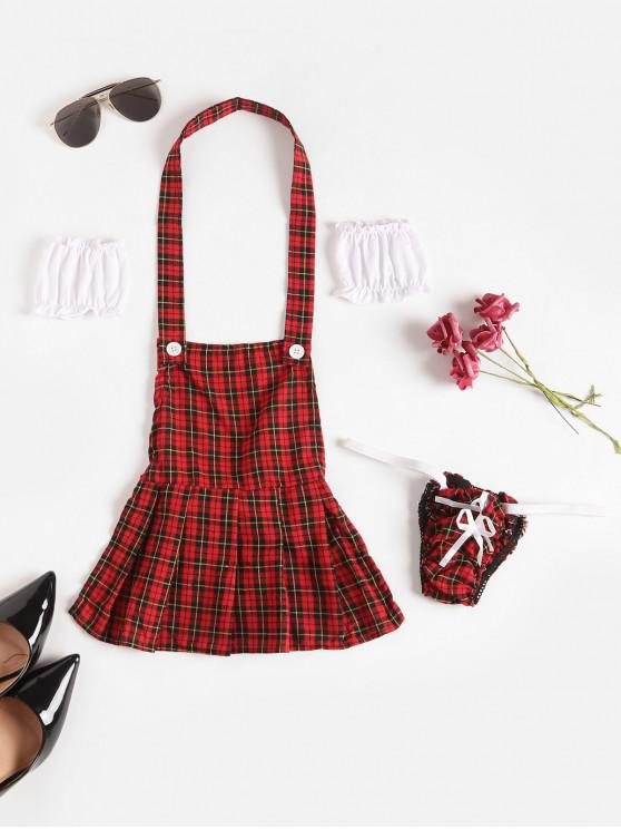 shop Plaid Knotted Maid Costume Set with Sleeves - RED ONE SIZE
