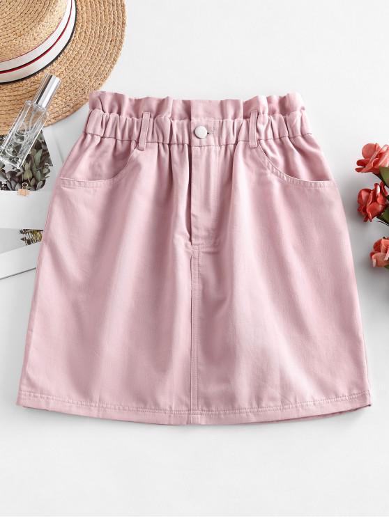 best Zipper Fly Solid Paperbag Skirt - PINK XL