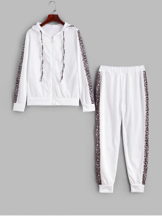 Ensemble de Sweat à Capuche Léopard Zippé et de Pantalon de Jogging - Blanc XL