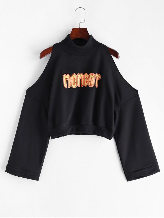 outfits Letter Graphic Cold Shoulder Mock Neck Crop Sweatshirt - BLACK L