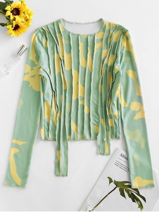 new Camo Pintuck Long Sleeve T-shirt - GREEN L