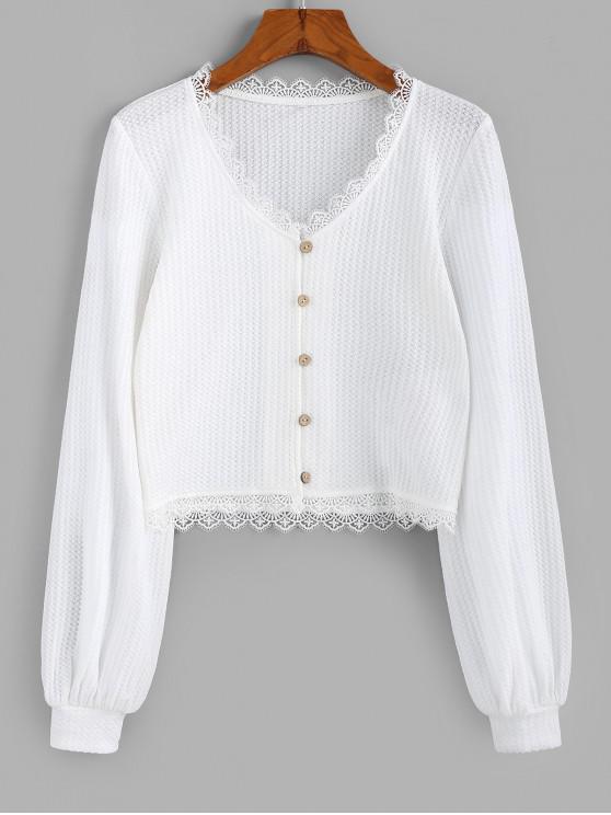 womens ZAFUL Eyelash Lace Buttons Cropped Cardigan - WHITE M