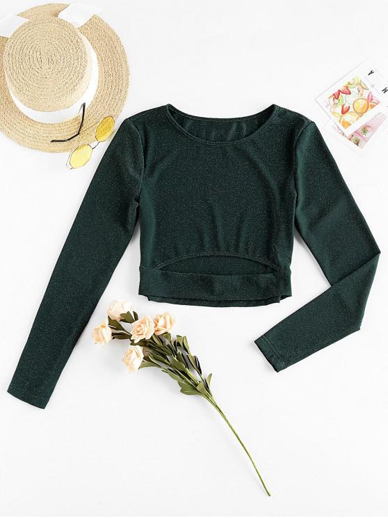 outfit Metallic Thread Cutout Crop Long Sleeve Tee - DARK GREEN L