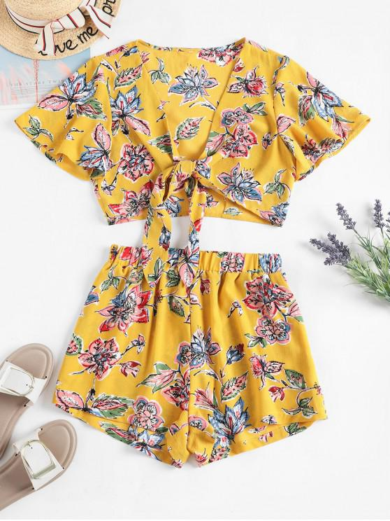 latest ZAFUL Cropped Floral Tie Front Two Piece Set - SUN YELLOW L