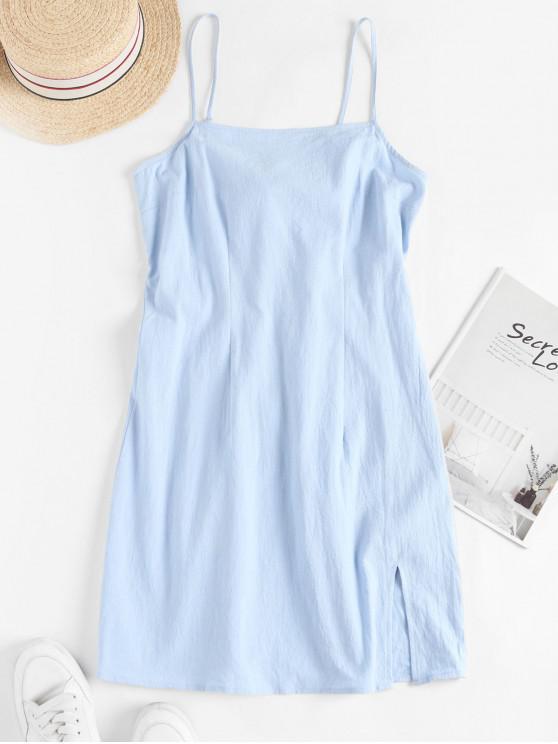 women ZAFUL Cami Slit Tie Back Mini Dress - LIGHT BLUE L