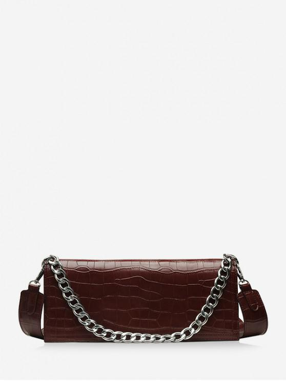 outfits Chain Decorate Embossed Shoulder Bag - COFFEE