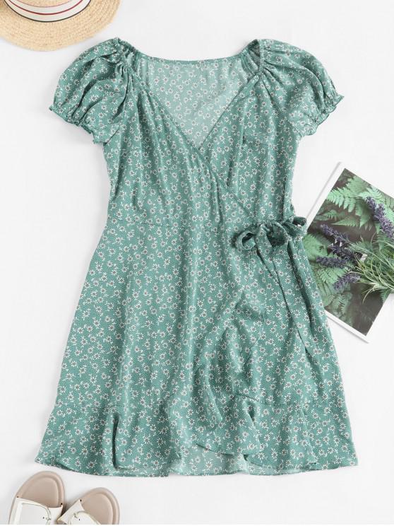 lady ZAFUL Ditsy Floral Ruffles Wrap Mini Dress - LIGHT GREEN XL