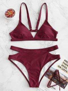 Costume Da Bagno Bikini Imbottito Di ZAFUL A Taglio Alto - Vino Rosso M