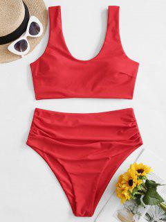 ZAFUL Padded Scoop Neck Tummy Control Tankini Swimwear - Red L