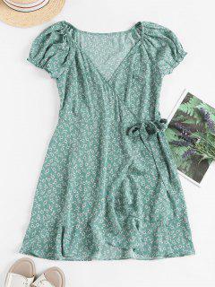 ZAFUL Ditsy Floral Ruffles Wrap Mini Dress - Light Green S