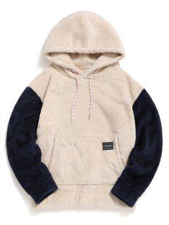 Color-blocking Pouch Pocket Fluffy Hoodie - Warm White S