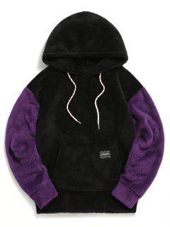 Color-blocking Pouch Pocket Fluffy Hoodie - Black M
