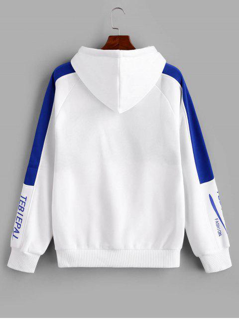 Carta de Colorblock empalmado raglán Fleece con capucha de la manga - Azul de Arándanos 3XL Mobile