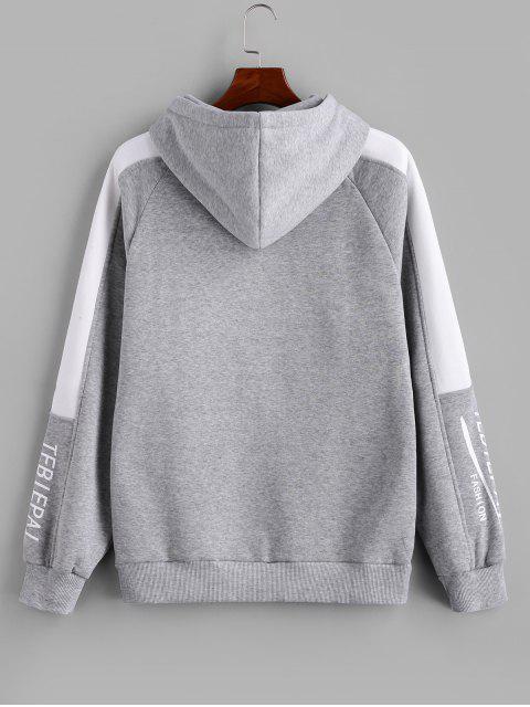 Carta de Colorblock empalmado raglán Fleece con capucha de la manga - Blanco XL Mobile