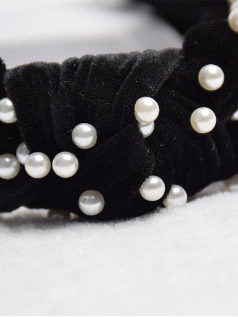Bandeau Noué en Fausse Perle en Velours - Noir  Mobile