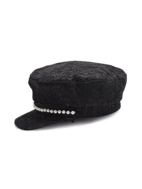 Chapeau Décontracté en Dentelle en Fausse Perle - Noir  Mobile