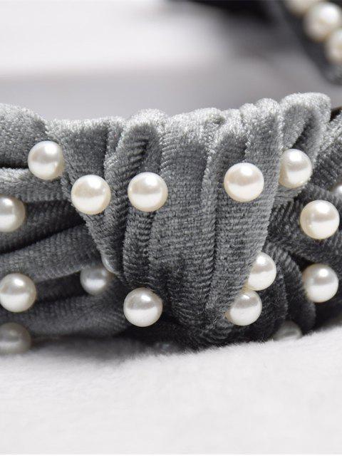 trendy Velour Faux Pearl Knot Hairband - BATTLESHIP GRAY  Mobile