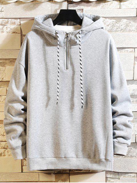 Anillo sólido Vent Zip con cordón Fleece con capucha - Gris Claro M Mobile