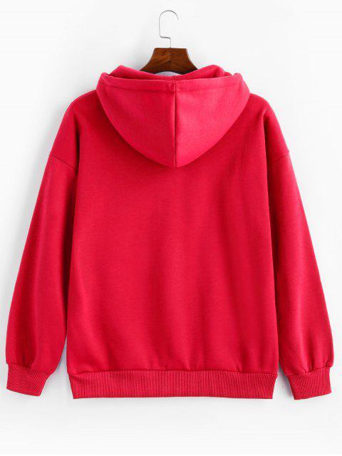 Anillo sólido Vent Zip con cordón Fleece con capucha - Rojo Lava M Mobile