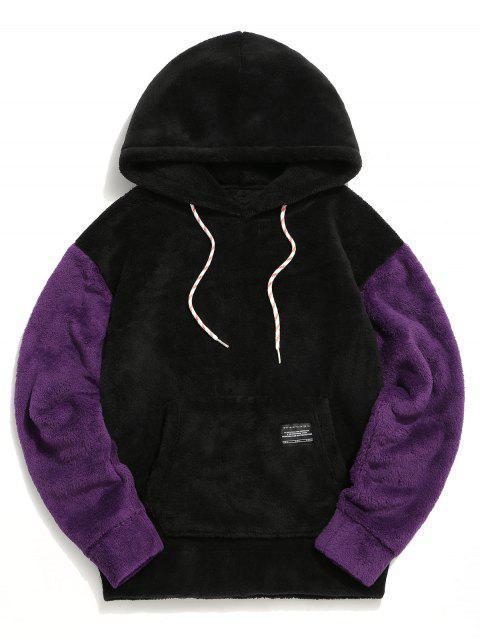 El color de bloqueo de bolsillo de la bolsa mullido con capucha - Negro XL Mobile