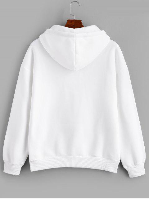 Anillo sólido Vent Zip con cordón Fleece con capucha - Blanco XL Mobile