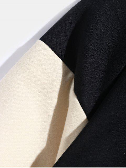 Colorblock manga raglán empalmado Carta Fleece con capucha - Negro L Mobile