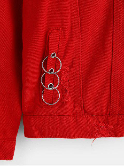 trendy Letter Graphic Print Flap Pocket Ripped Cargo Jacket - RED S Mobile