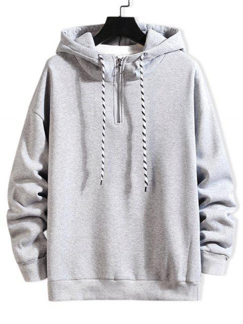 Anillo sólido Vent Zip con cordón Fleece con capucha - Gris Claro XL Mobile