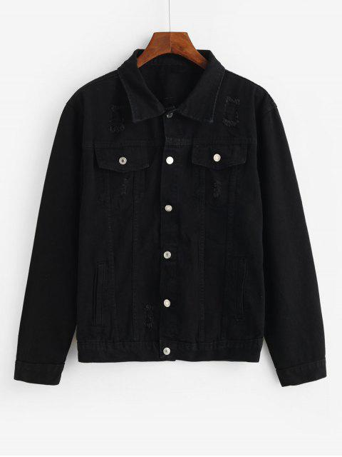 new Solid Flap Pocket Ripped Cargo Jean Jacket - BLACK XL Mobile