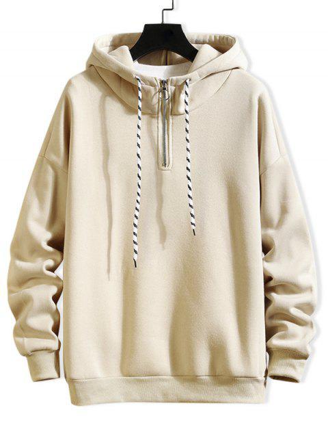 Anillo sólido Vent Zip con cordón Fleece con capucha - Beige XL Mobile