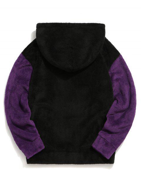 El color de bloqueo de bolsillo de la bolsa mullido con capucha - Negro 2XL Mobile