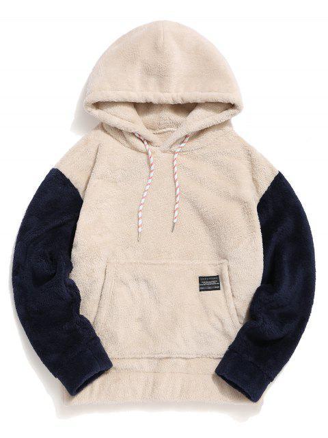 El color de bloqueo de bolsillo de la bolsa mullido con capucha - Blanco Cálido XL Mobile