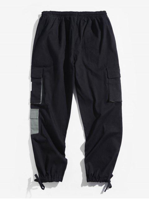 信件模式口袋裝飾慢跑褲 - 黑色 XS Mobile