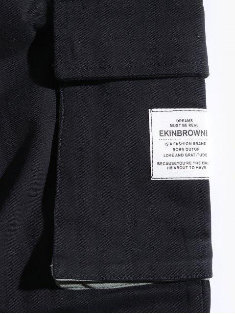Buchstabenmuster Tasche Verzierte Jogger Hose - Schwarz M Mobile