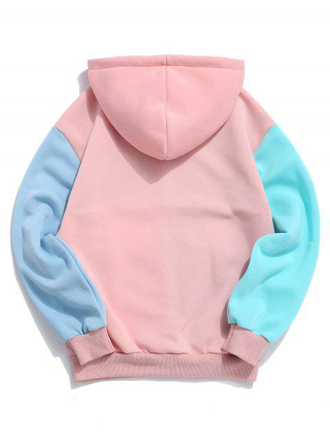 Sudadera con capucha de la bolsa del bolsillo informal Color empalmado - Rosado S Mobile
