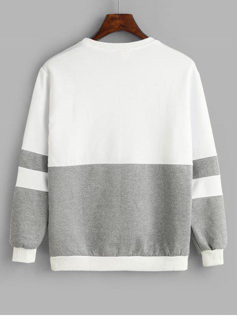 FarbblockSweatshirtmitApplikation - Grau M Mobile