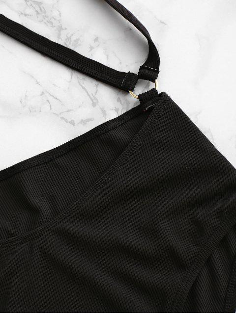 outfits ZAFUL Ribbed O-ring Cross Suspender Bikini Bottom - BLACK M Mobile