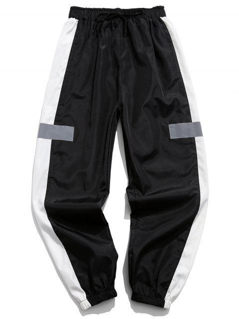 Colorblocking拼接抽繩短褲慢跑者 - 黑色 L Mobile