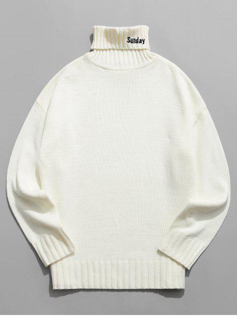 best Turtleneck Letter Embroidery Drop Shoulder Sweater - WHITE M Mobile
