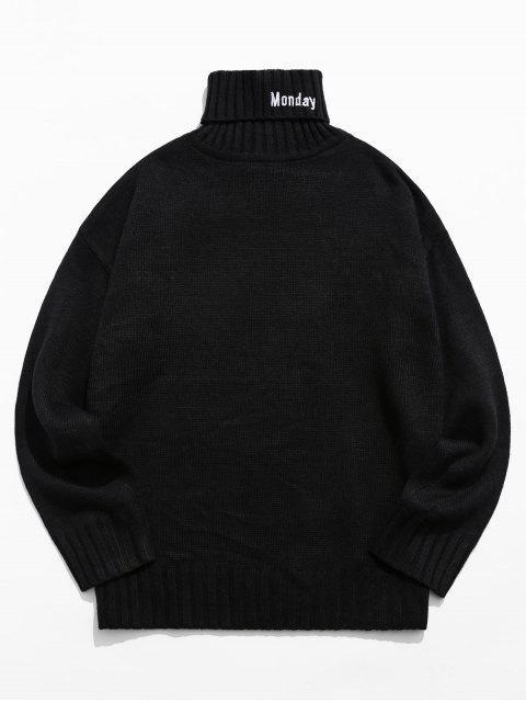 trendy Turtleneck Letter Embroidery Drop Shoulder Sweater - BLACK M Mobile