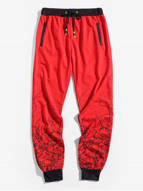 sale Marble Grain Print Sport Drawstring Jogger Pants - LAVA RED 2XL Mobile