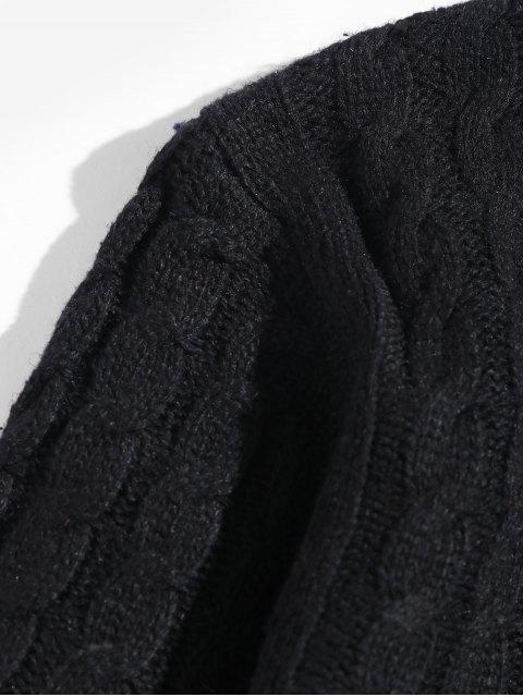 Colorblockストライプケーブルニットプルオーバーセーター - ブラック L Mobile
