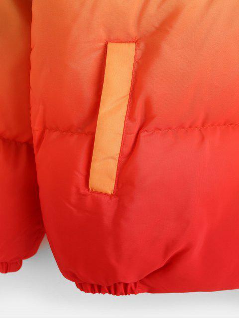 Veste Doudoune Zippée Ombrée Imprimée à Col Debout - Orange Citrouille M Mobile