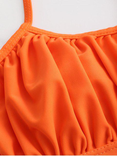 ZAFUL Maillot de Bain Bikini Croisé Coupe Haute à Lacets à Volants - Orange Mangue S Mobile