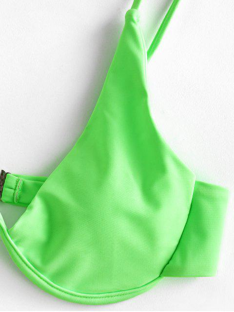 ZAFUL neón W hilos de impresión de alta corte de bikini traje de baño - Verde Amarillo L Mobile