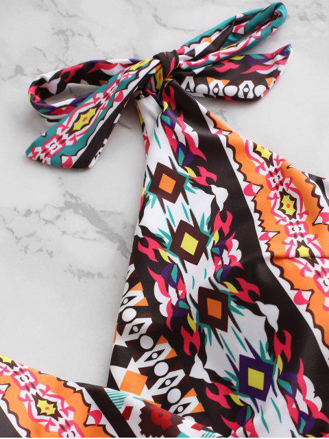 ZAFUL Maillot de Bain Tankini Imprimé Epaule Nouée à Coupe Haute - Orange XL Mobile