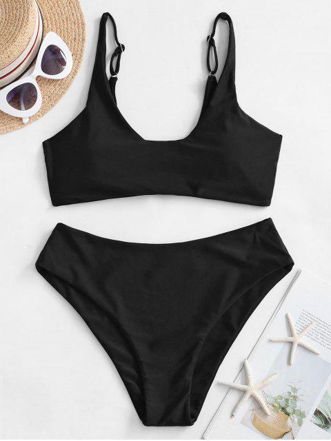 ZAFUL Bikini Básico de Cintuta Alta - Negro S Mobile