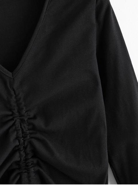 Cinched V-Ausschnitt Langarm T-Shirt - Schwarz L Mobile