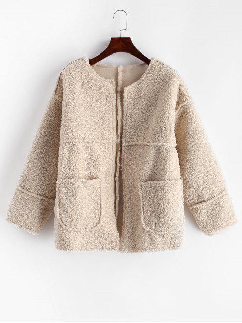 Dual bolsillos sólidos chaqueta de peluche - Blanco Cálido XL Mobile