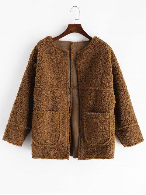 trendy Dual Pockets Solid Teddy Jacket - BROWN XL Mobile